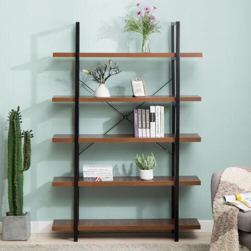 5-Shelf Bookshelf  Storage Open Bookcase Furniture for Home Kitchen Organizer