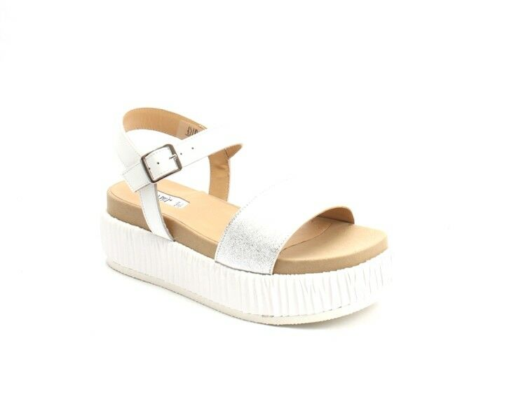 femmes Piu 53047 argent blanc Leather Suede Platform Flat Wedge Sandal 37   US 7