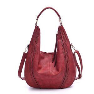 Large Hobo Handbags Leather Women Bag Piel Coach Vintage Slouchy Purse Wine 4348a24415172