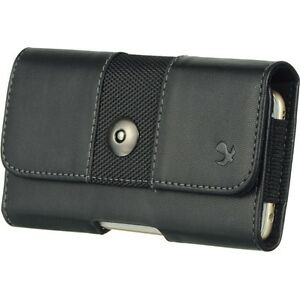 Black-Horizontal-Leather-Pouch-Cover-Holster-Belt-Clip-Case-For-Samsung-iPhone