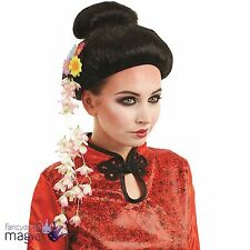 Oriental Peluca Chino Japonés Negro Damas Geisha Fancy Dress Costume Accesorio
