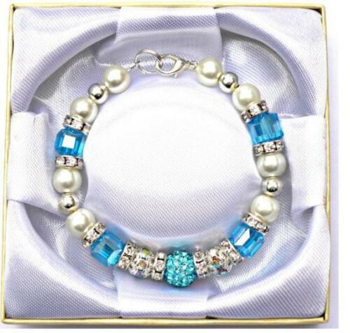Personalised Engraved Grandmother Cube Bead Bracelet With Free Box and Gift Card