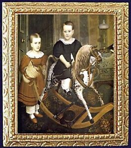 OUT RIDING Dollhouse Picture FRAMED Miniature Art FAST DELIVERY MADE IN USA