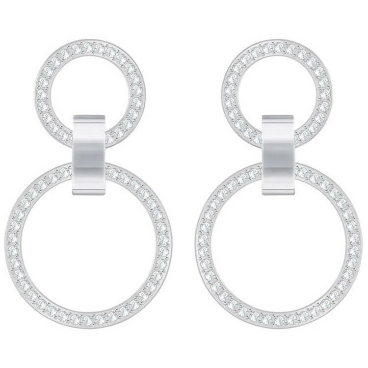 Swarovski Hollow Rhodium Plated White Crystals Chandelier Earrings 5349353