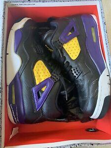 Details about Nike Air Jordan 4 Retro Basketball Shoes for Men, Size US 9.5 LAKERS custom