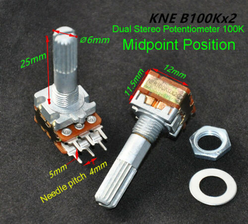 2x B100K Shaft 25mm Linear Dual Stereo Potentiometer 100K Midpoint Position