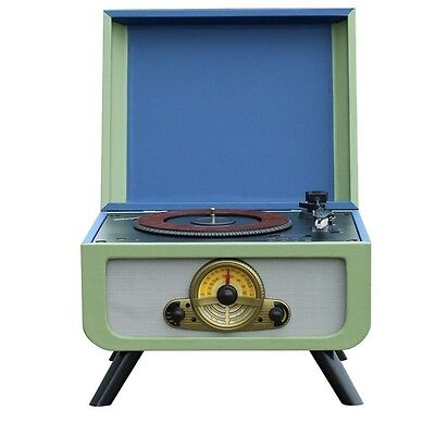 Steepletone Rico Retro Turntable with Built-in CD Player FM Radio Blue/Green