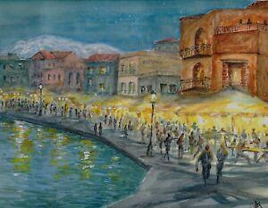 034-Night-Market-034-ORIGINAL-signed-watercolor-painting-Chania-venetian-harbor-Greece