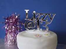 Birthday Cake Topper Personalised Celebration Silver Acrylic 18th 21st 30th