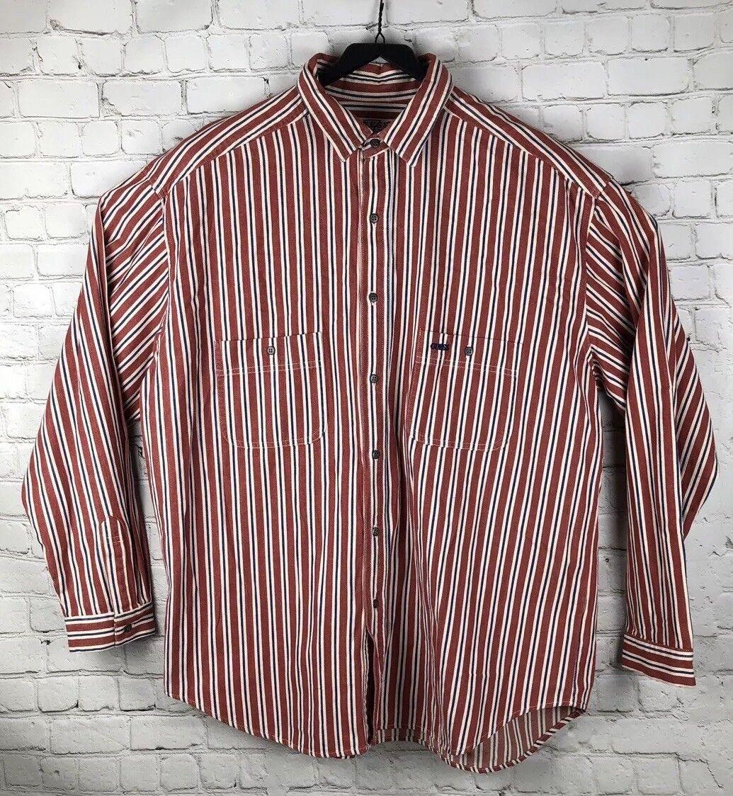NWT Men's Guess Long Sleeve Shirt Size XL greenical Stripes - USA Vintage