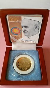 2015 PHILIPPINES BSP 500 peso POPE FRANCIS PAPAL Visit Gold Plated Coin RARE