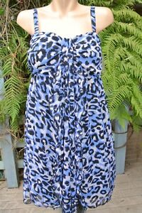 CROSSROADS-Flowing-Black-Blue-Animal-Print-DRESS-Size-12-NEW-rrp-59-95