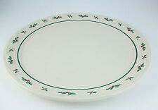 Longaberger Pottery Cake Plate Traditional Holly Christmas Platter