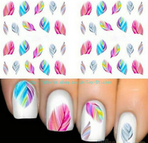 5-SHEETS-USEFUL-FEATHER-NAIL-ART-WATER-TRANSFER-STICKERS-RAINBOW-DREAM-DECALS-B
