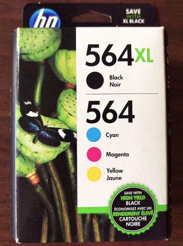 PhotoSmart 7520 7525 4-Pack HP Genuine 564XL Black /& 564 Color Ink Retail Box