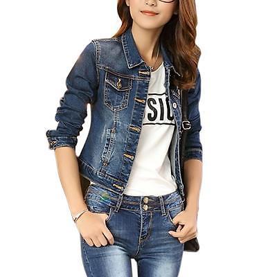 New Vintage Long Sleeve Jean Coat Womens Slim Denim Short Casual Short Jacket