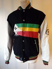 LRG lifted research group LARGE RASTA leather sleeve Letterman jacket black coat
