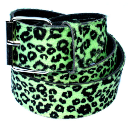 VERDE Leopardo 38mm Cintura-Emo Punk Rock Rockabilly