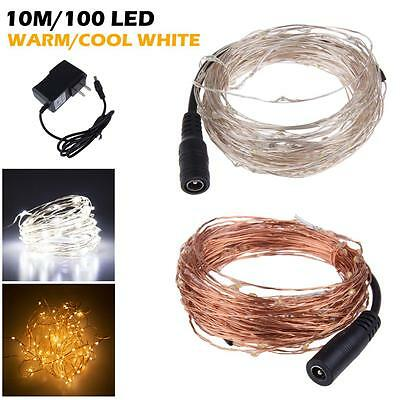 New 10M 33Ft 100 Leds Starry Copper Wire Warm White LED Light Xmas+Power Supply