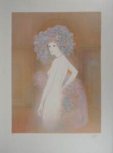 Guy ribes: female nude with flowers-original signed lithographs