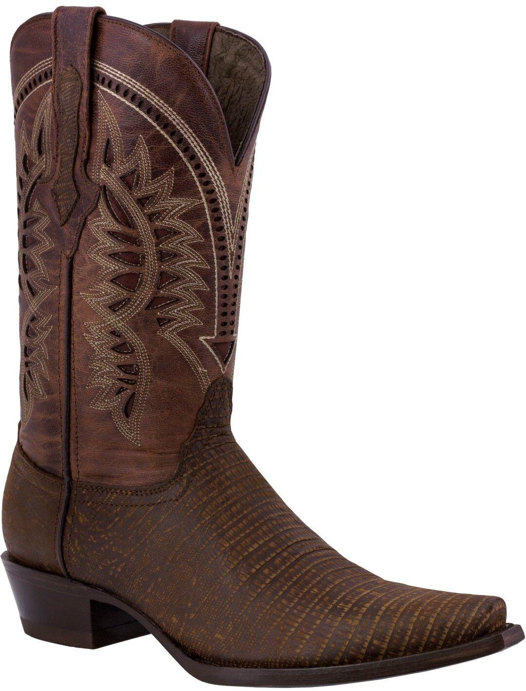 Uomo Cognac Lizard Print Pelle Pelle Pelle Cowboy Stivali Casual Dress Pointed Toe ea2193