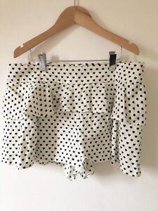Ladies-Top-Shop-White-Black-Cotton-Frilly-Shorts-UK10