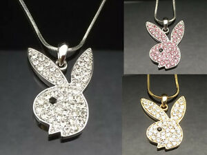 21212e158 Image is loading PLAYBOY-BUNNY-RABBIT-Pendant-Necklace-Crystal-Silver-Girl-