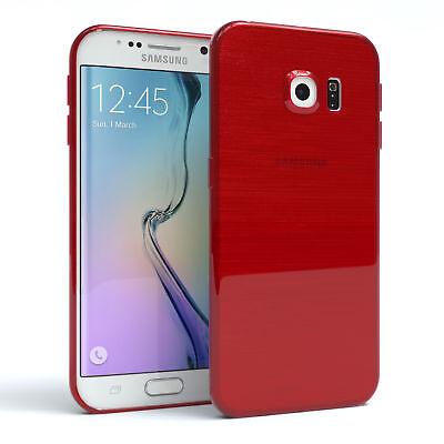 Schutz Hülle für Samsung Galaxy S6 Edge Brushed Cover Handy Case Rot
