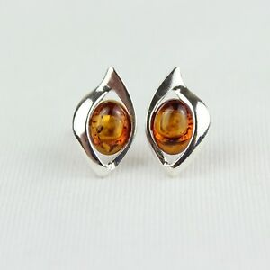 Image Is Loading Amber Earrings 925 Sterling Silver Studs Natural Baltic