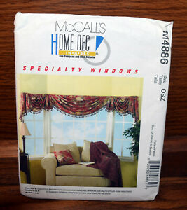 Mccalls 4886 Bay Window Curtains Swags Sewing Pattern 23795488617