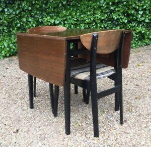 Vintage 1950 S Nathan Drop Leaf Teak Dining Table Chairs Ebay