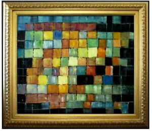Framed-Paul-Klee-Ancient-Sound-Repro-Hand-Painted-Oil-Painting-20x24in