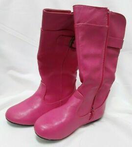 Girls Boots Kids Comfort Ridding Buckles Zipper Back  Toddler /&kids sizes