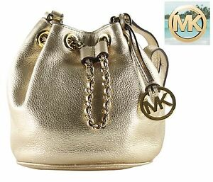 e0c9885c3d6a Image is loading Michael-Kors-Frankie-Small-Gold-Drawstring -Crossbody-Shoulder-