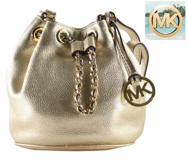 michael kors frankie small gold drawstring crossbody shoulder bag rh ebay com