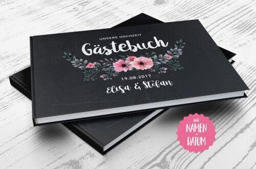 Geschenk Fotobuch Gästebuch Hochzeit Chalkboard Flower PERSONALISIERT