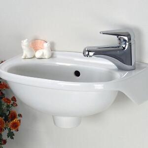 ... Mounted Bathroom Sink White Small Compact Wash Mini Basin Mount eBay