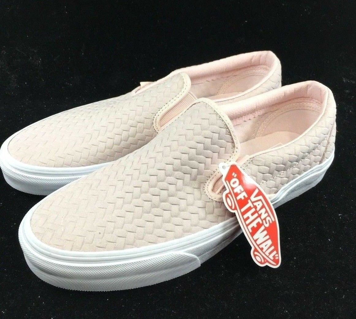 Vans Classic Slip On Embossed Woven Suede pinkwater Pink White VN0A38F7NSQ Vault