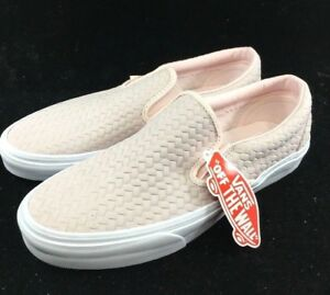 4204b88ded Image is loading Vans-Classic-Slip-On-Embossed-Woven-Suede-Rosewater-