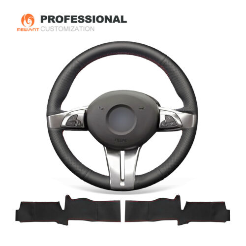 Design Black Genuine Leather Steering Wheel Cover for BMW Z4 E85 E86 2003-2008