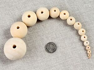 6mm 8mm 10mm 12mm Natural Round Wood Beads Untreated