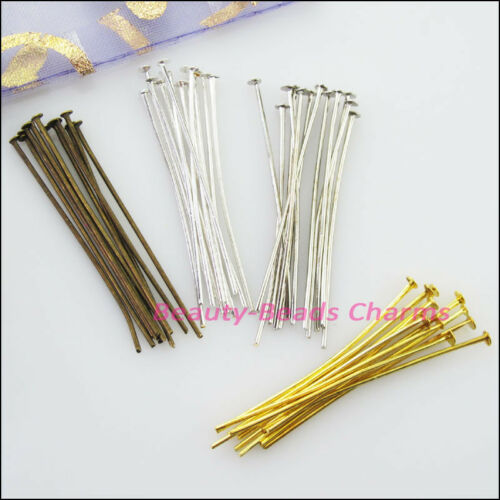 300Pcs Head Pins Finding Connectors Gold Dull Silver Bronze Plated 16mm