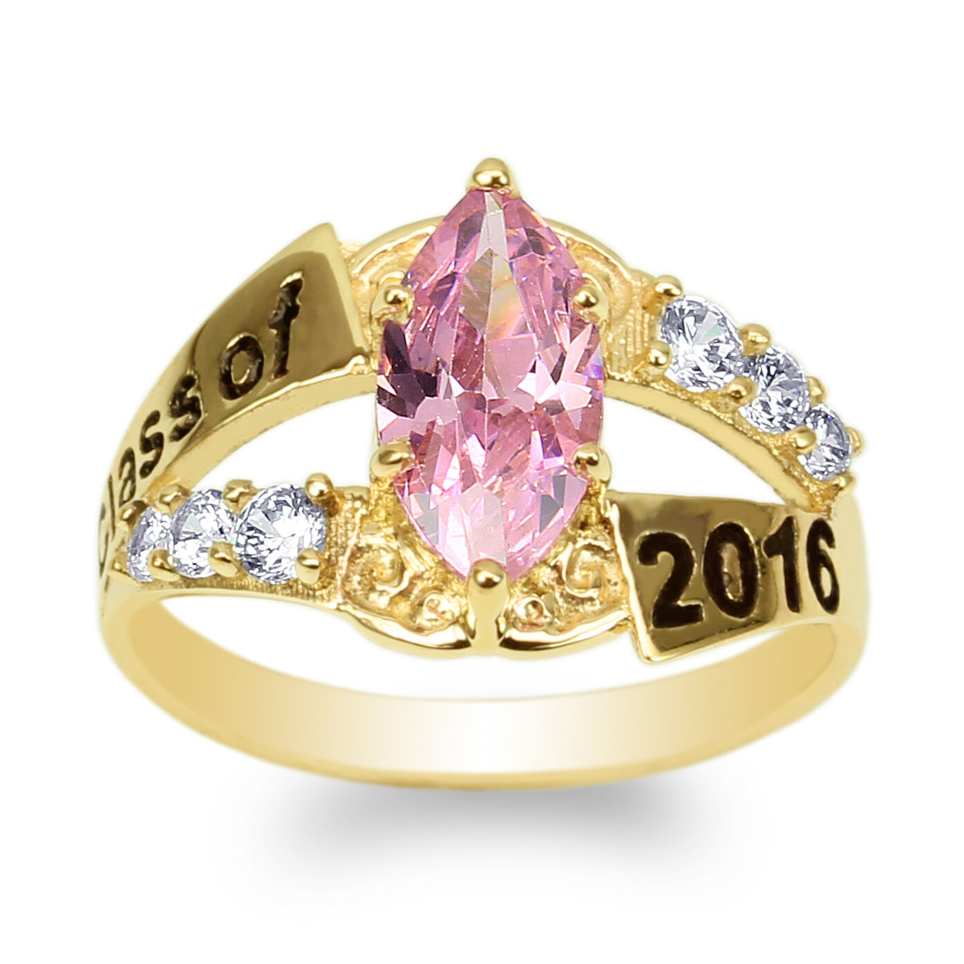JamesJenny Yellow gold Plated 2016 Graduation Ring Marquise Pink CZ Size 4-9