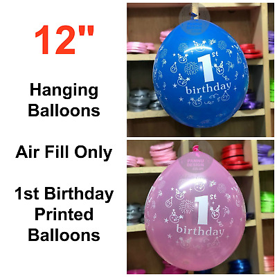 """12/"""" 1st Birthday Hanging Balloons Air Fill Only Latex Printed Party Baloons"""
