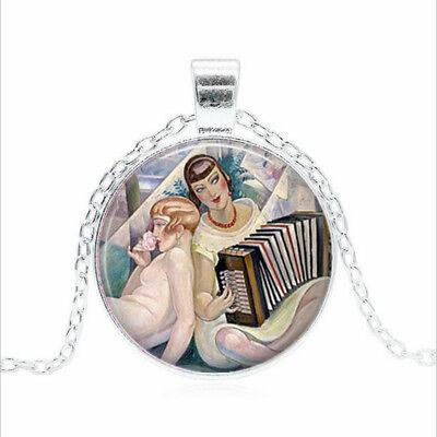 Gerda Wegener Pendant Black Glass Cabochon Necklace chain Pendant Wholesale