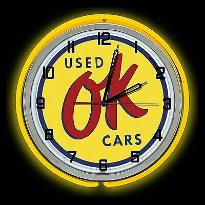 "11/"" Blue Neon Wall Clock OK USED CARS LOGO"