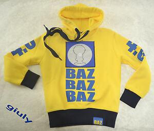 FELPA-BAZ-4-0-Taglia-5-anni-maglia-BAMBINO-ORIGINALE-invernale-offerta-giallo