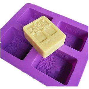 4-cavity-Rectangle-Tree-Soap-Mold-Cake-Mold-Silicone-Resin-Mould-Chocolate-Mold