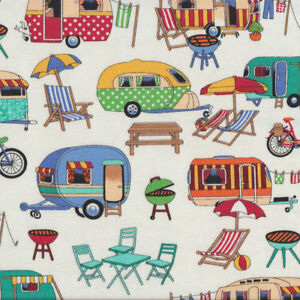 Retro-Caravans-on-White-BBQ-Deck-Chairs-Outdoors-Quilting-Fabric-FQ-or-Metre-Ne