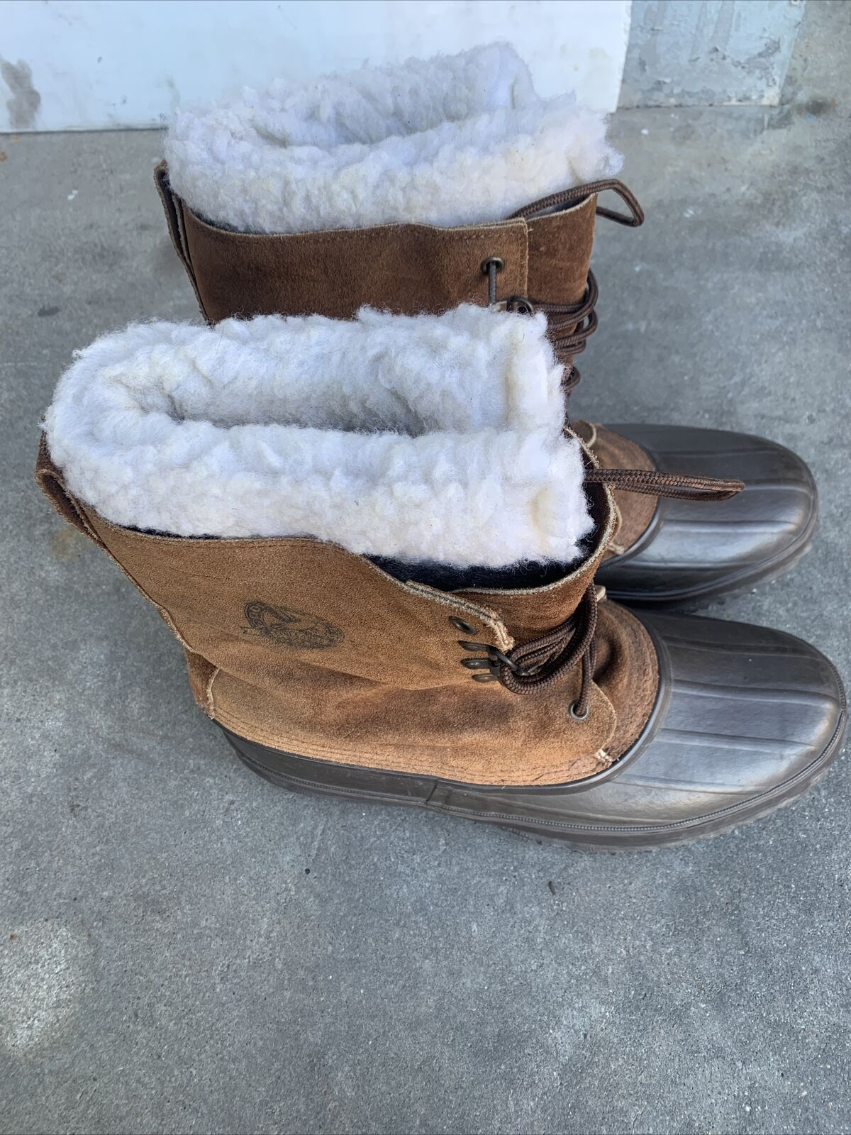 Eddie Bauer U.S.A. Brown Suede Faux Fur Fiberglass Shank Boots Men's U.S. Size12